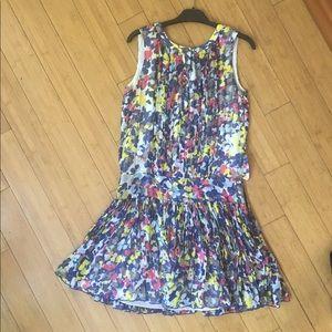 ADAM Size 4 Multi Color Dress 100% Silk